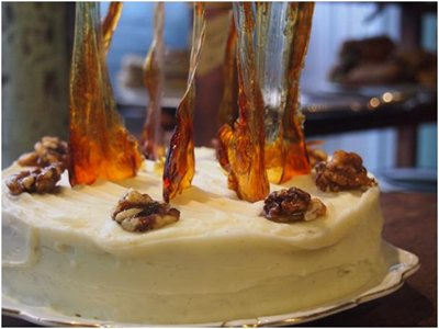 Spiced carrot cake with walnuts and toffee shards recipe from Sugardough in Brighton and Hove